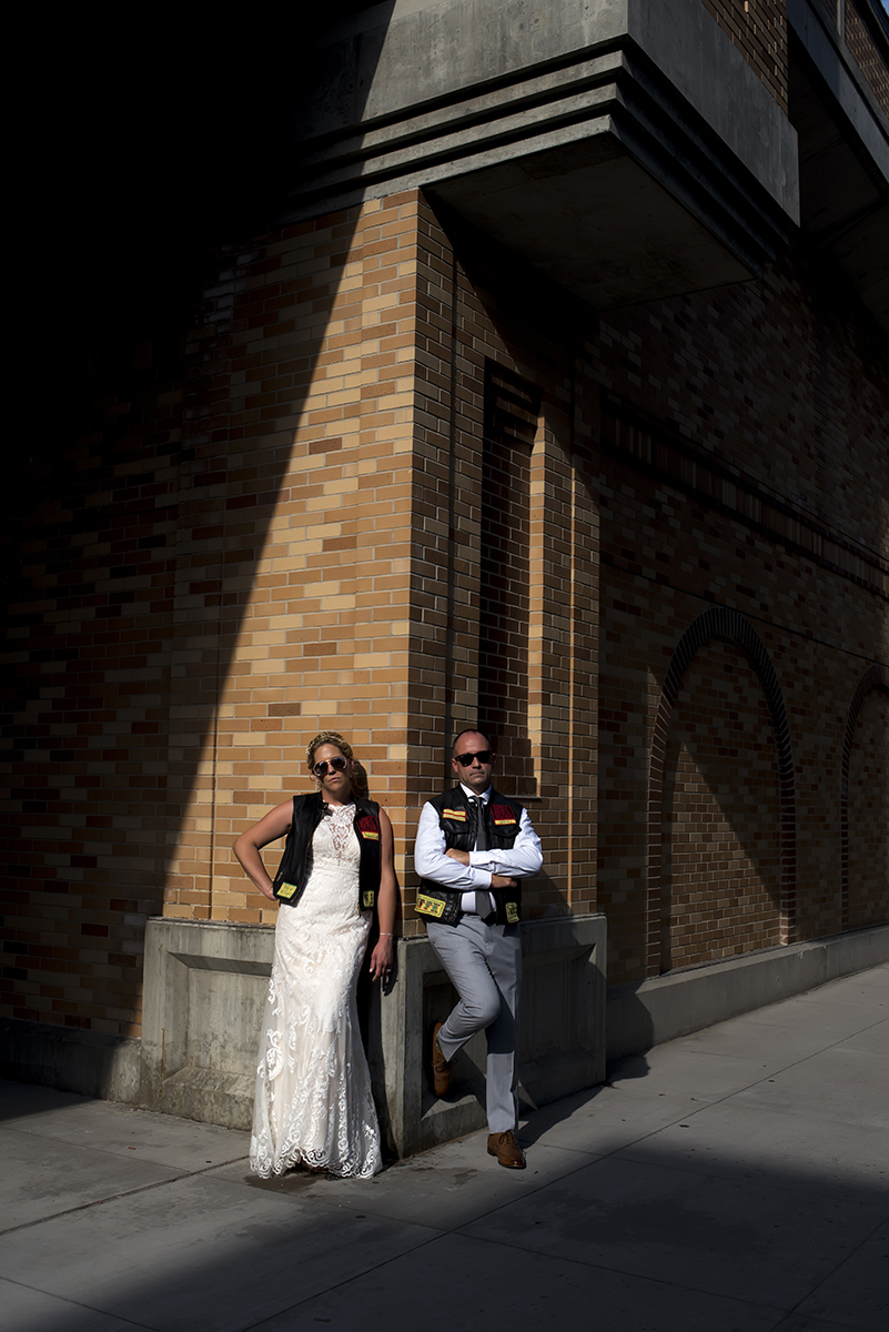 Leather jacket clad bride and groom in Hoboken
