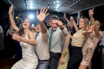 Crazy dancing at wedding reception at Kolo Klub in Hoboken. Hoboken wedding photographer