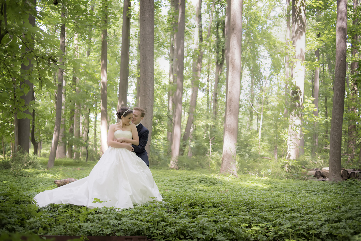 backyard wedding, bride and groom in the woods. NJ wedding photos