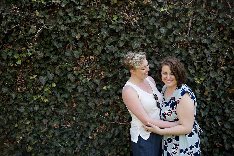 Lesbian couple engagement session at Princeton University