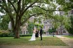 bride and groom are married under a tree on Princeton University's campus. Princeton microwedding. Princeton wedding photographer