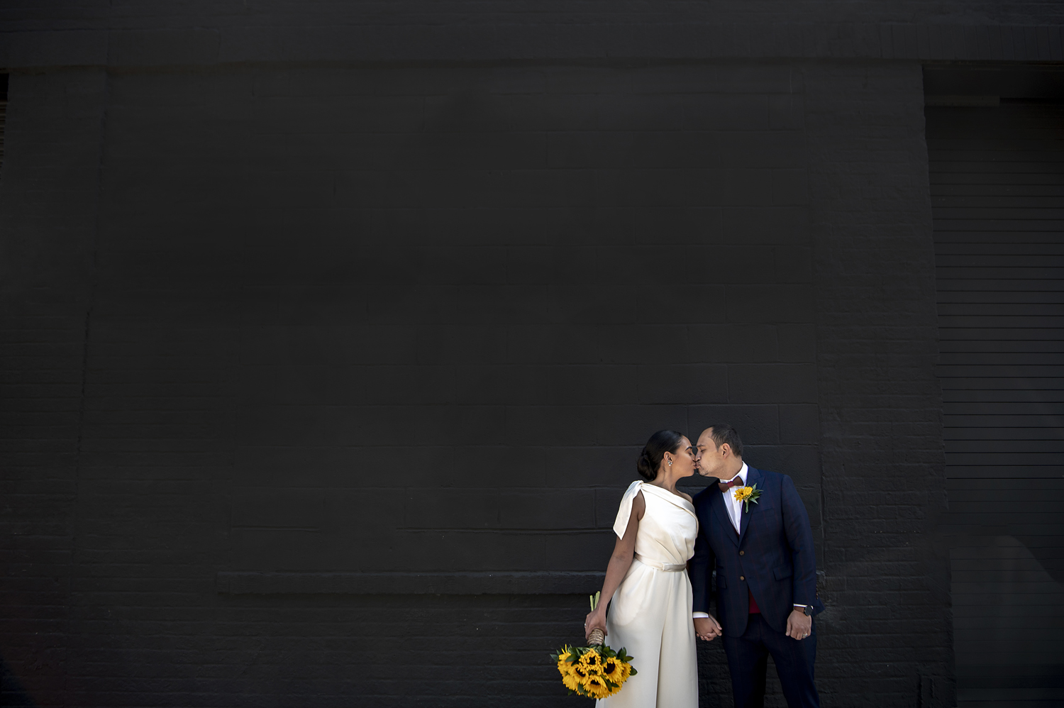 portrait of bride and groom after their wedding ceremony at The Foundry in Long Island City, NY. NYC wedding photographer