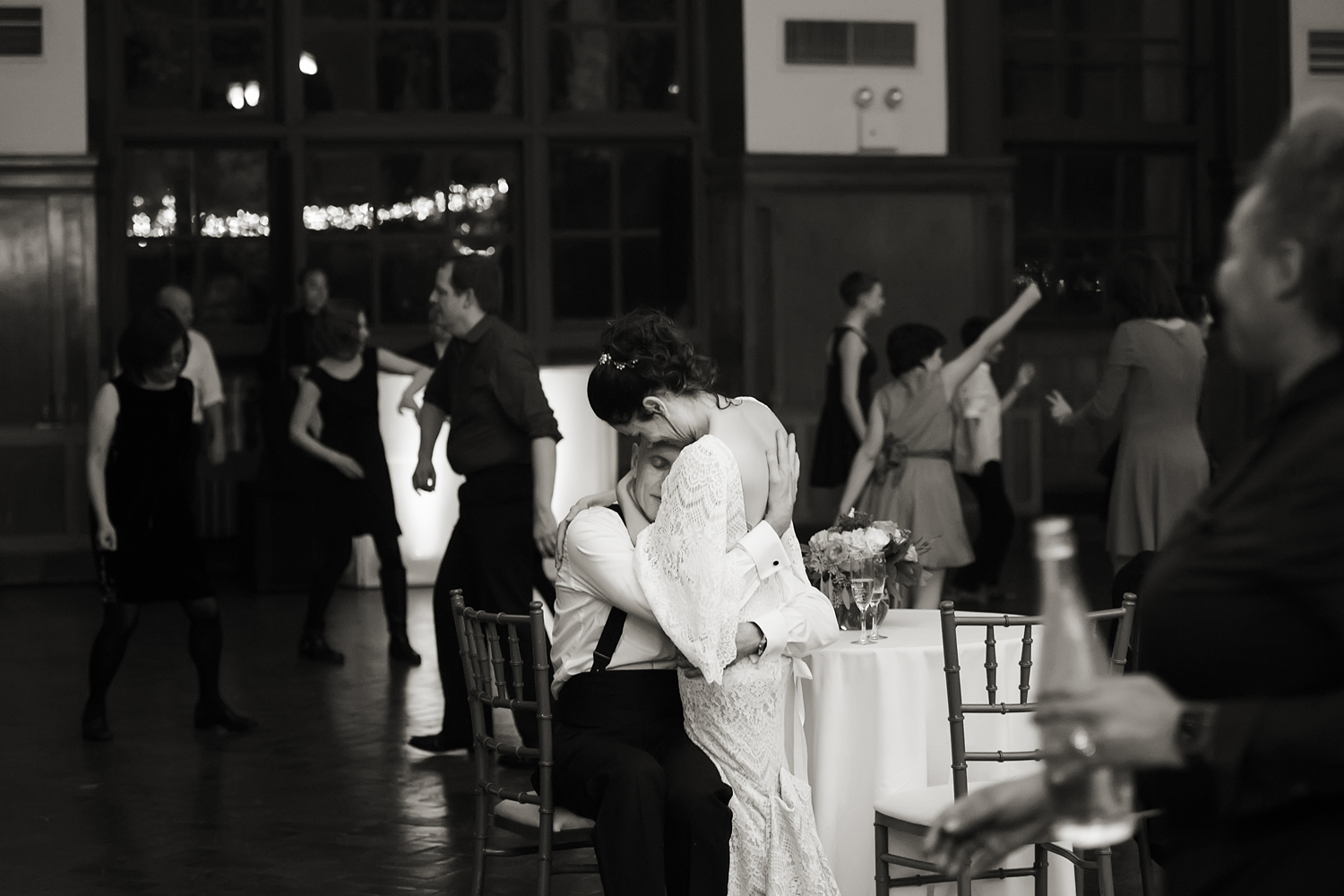 bride and groom having a moment together during wedding reception at Celebrate at Snug Harbor