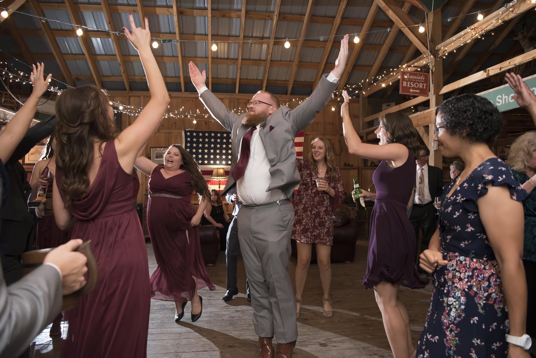dancers at wedding reception at Tall Timber Barn