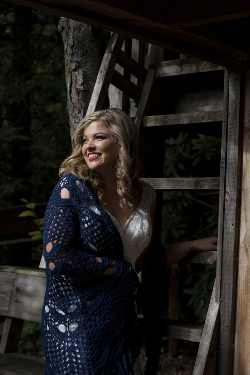 Bride at Tall Timber Barn on her wedding day