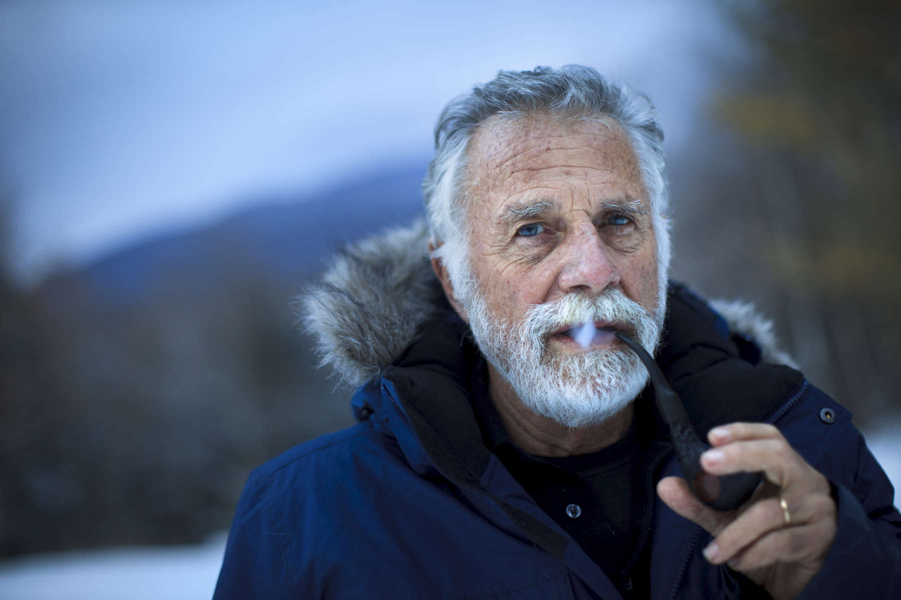 1/10/2014 - Manchester Center, VT -  Jonathan Goldsmith, cq, AKA {quote}The Most Interesting Man in the World,{quote} the cult-like figure in the highly popular Dos Equis beer commercials, lives a quiet life in the woods in Manchester Center, VT. He is trying to remake himself as the leading advocate for removing land mines and cleaning up the legacy of war in combat zones around the world. Topic: goldsmith. Story by Bryan Bender/Globe Staff. Dina Rudick/Globe Staff