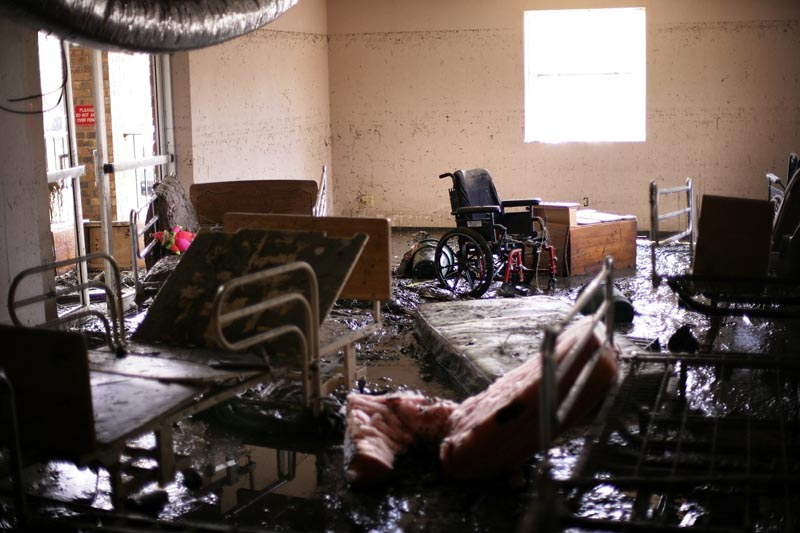 Thirty-four people died when flood waters from Hurricane Katrina innundated the St. Rita's Nursing Home in Violet, Louisiana. The waterline is clearly visible only inches from the ceiling. The owners, Salvador A. Mangano and Mable B. Mangano, were charged with 34 counts of negilgent homicide by the Louisiana attorney general for failing to evacuate the patients.