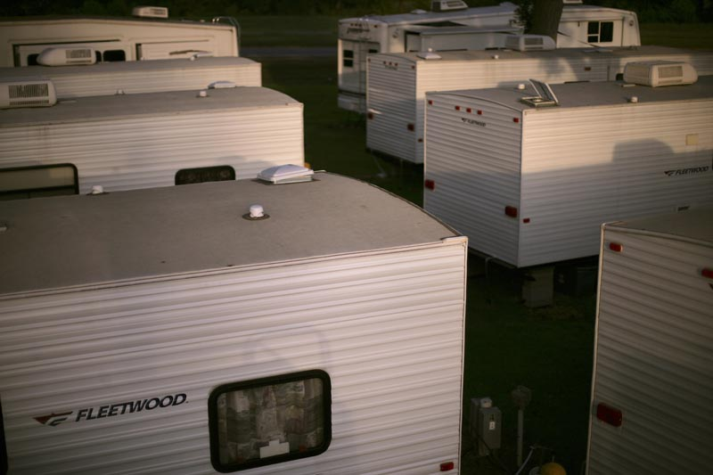 Evacuees from New Orleans and outlying regions were  relocated by FEMA to trailer parks around the state, where they lived for years, in some cases. This is Chase's RV Park just south of New Iberia, Louisiana.