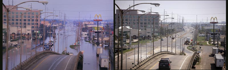 The view from South Causeway Boulevard overlooking Airline Drive in Jefferson parish - three weeks apart.