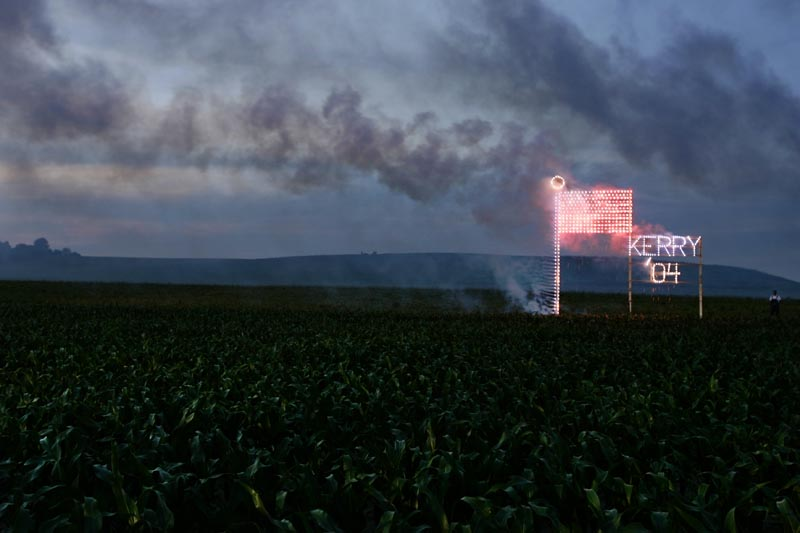 A proud farmer donated his corn field for a fireworks display following Senator John Kerry's Chippewa County Farm Rally in Bloomer, Wisconsin on July 2, 2004.
