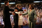 Senators Kerry and Edwards hugged their wives, Teresa Heinz Kerry and Elizabeth Edwards, after accepting the Democratic nomination for president at the Democratic National Convention in Boston, Massachusetts.