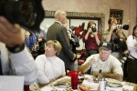 Diners were caught in the press corps crossfire when Senator John Kerry stopped at the Red Rooster Cafe in Las Cruces, New Mexico on October 23, 2004.