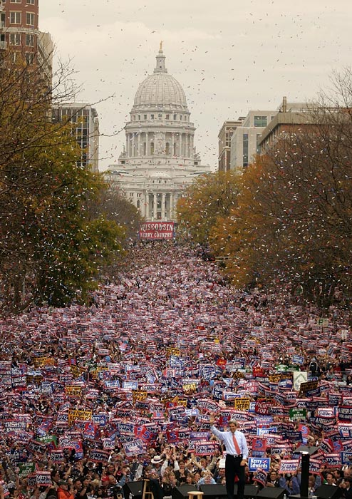 The crowds at campaign events on the days leading up to the election were huge. Here, Kerry waves to 80,000 supporters in Madison, Wisconsin.