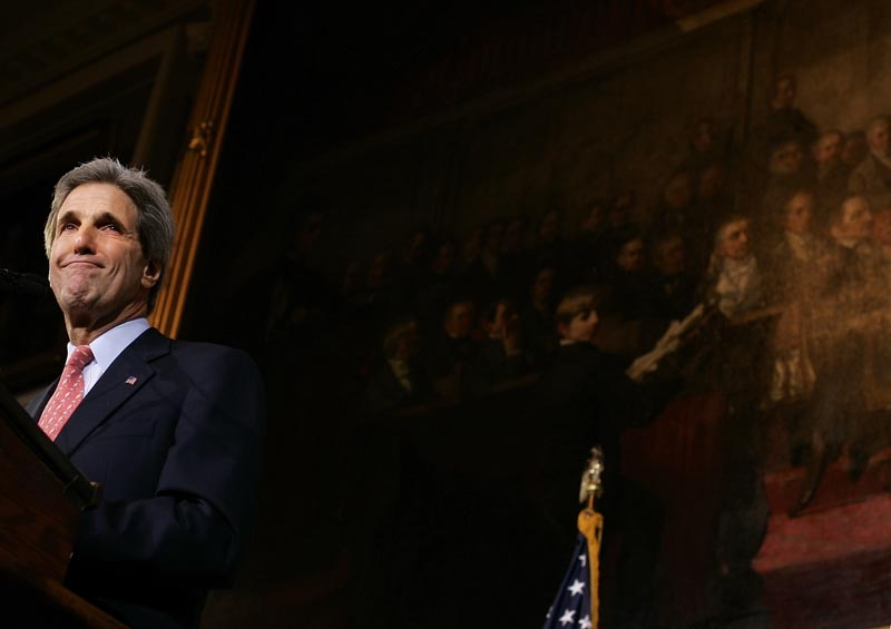 Senator John Kerry's eyes welled with emotion as he conceded the presidential race to George W. Bush in front of a packed Fanieul Hall in downtown Boston on Wednesday, November 3, 2004, the day after the election.