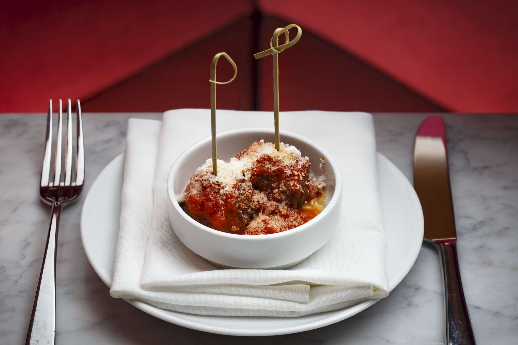 1/26/2016 - Boston, MA - This is the polpette, cq, $4, at SRV Restaurant. SRV Restaurant in Boston's South End is a {quote}Venetian inspired Bacaro{quote} according to their website. Topic: QuickBite(pic). Story by Kara Baskin/Globe Staff. Photo by Dina Rudick/Globe Staff.