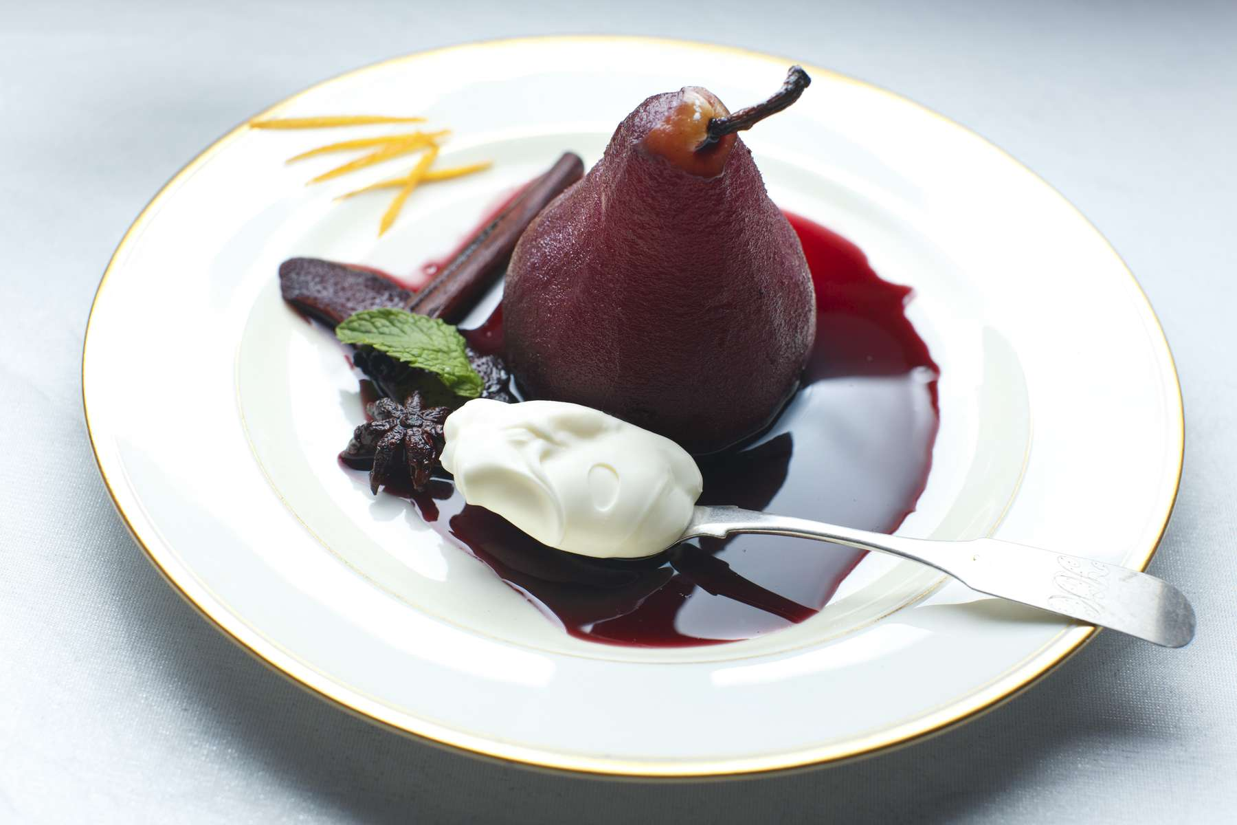 12/3/2015 - Sudbury, MA - This is pears poached in red wine with orange and star anise by chef Gordon Hamersley. Topic: 09hamersley. Story by Gordon Hamersley/Globe Correspondent. Photo by Dina Rudick/Globe Staff