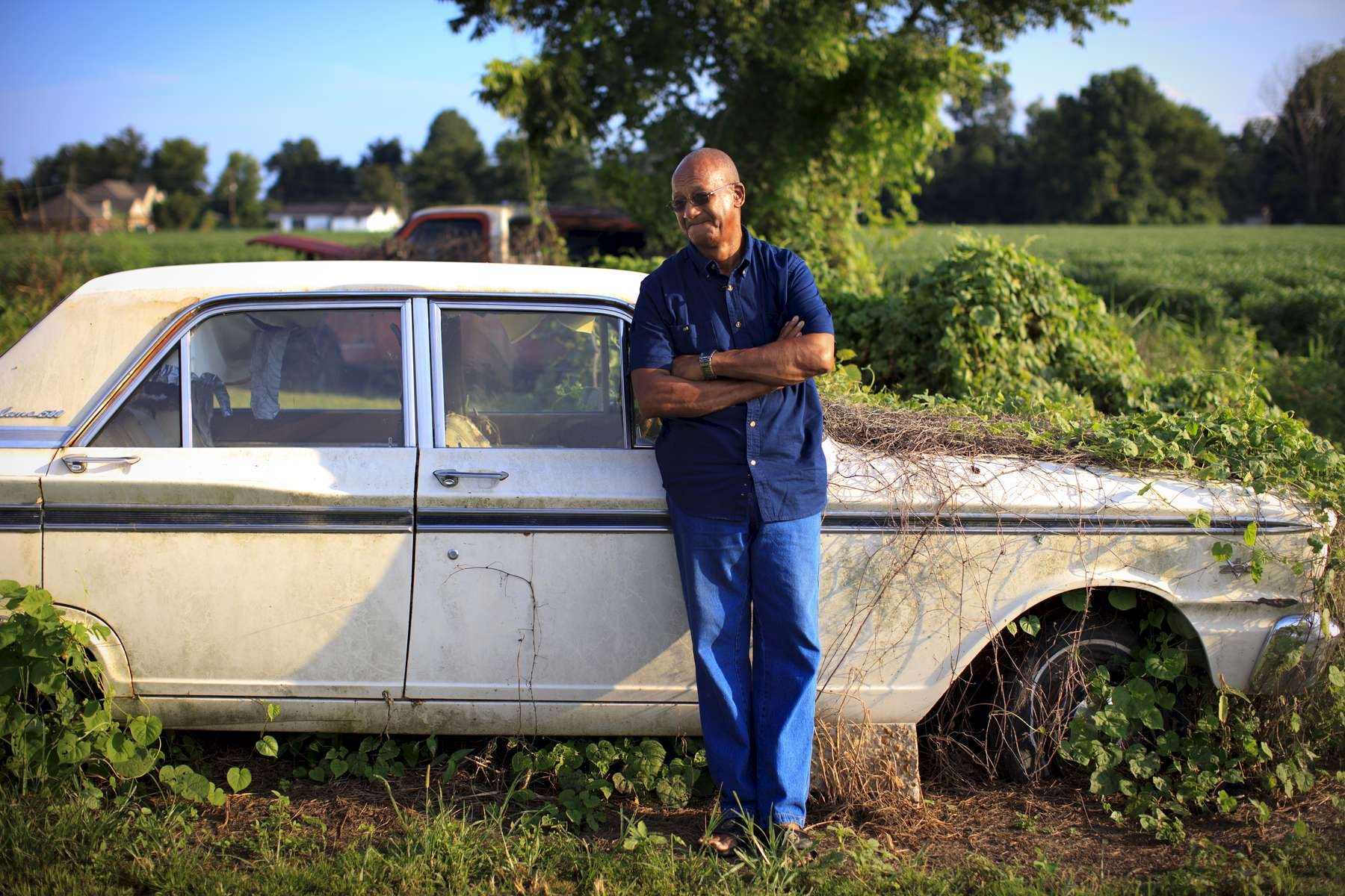 8/8/14 - Greenwood, MS - Silas McGhee, cq, was shot in the face in 1964 for his activism around Civil Rights. Here he is photographed at his farm in Greenwood, MS. Topic: 31freedom. Story by Eric Moskowitz/Globe Staff. Dina Rudick/Globe Staff