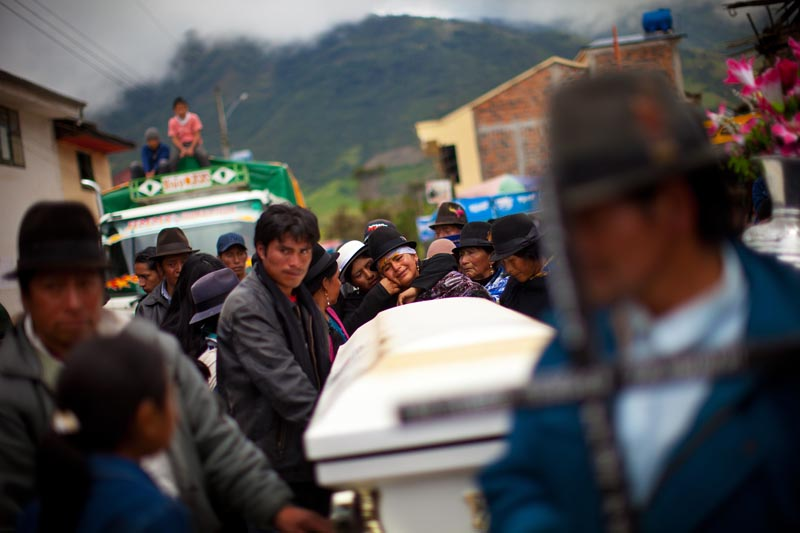 The families of the dead were inconsolable during the wake and procession.