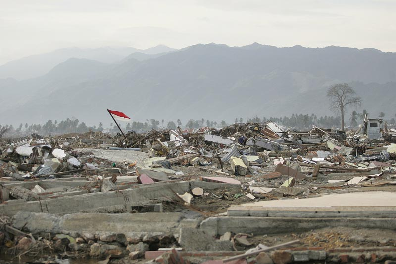 This used to be a densly populated suburb on the northern tip of Sumatra, Indonesia, only miles from the epicenter of the magnitude 9.3 earthquake that caused the 2004 Asian Tsunami. Estimates vary, but at least 230,000 people died in the disaster.