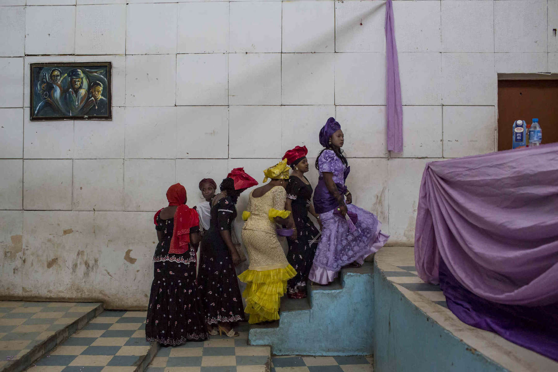 Women ascend to the head table at a wedding in Jos, Nigeria on April 19.