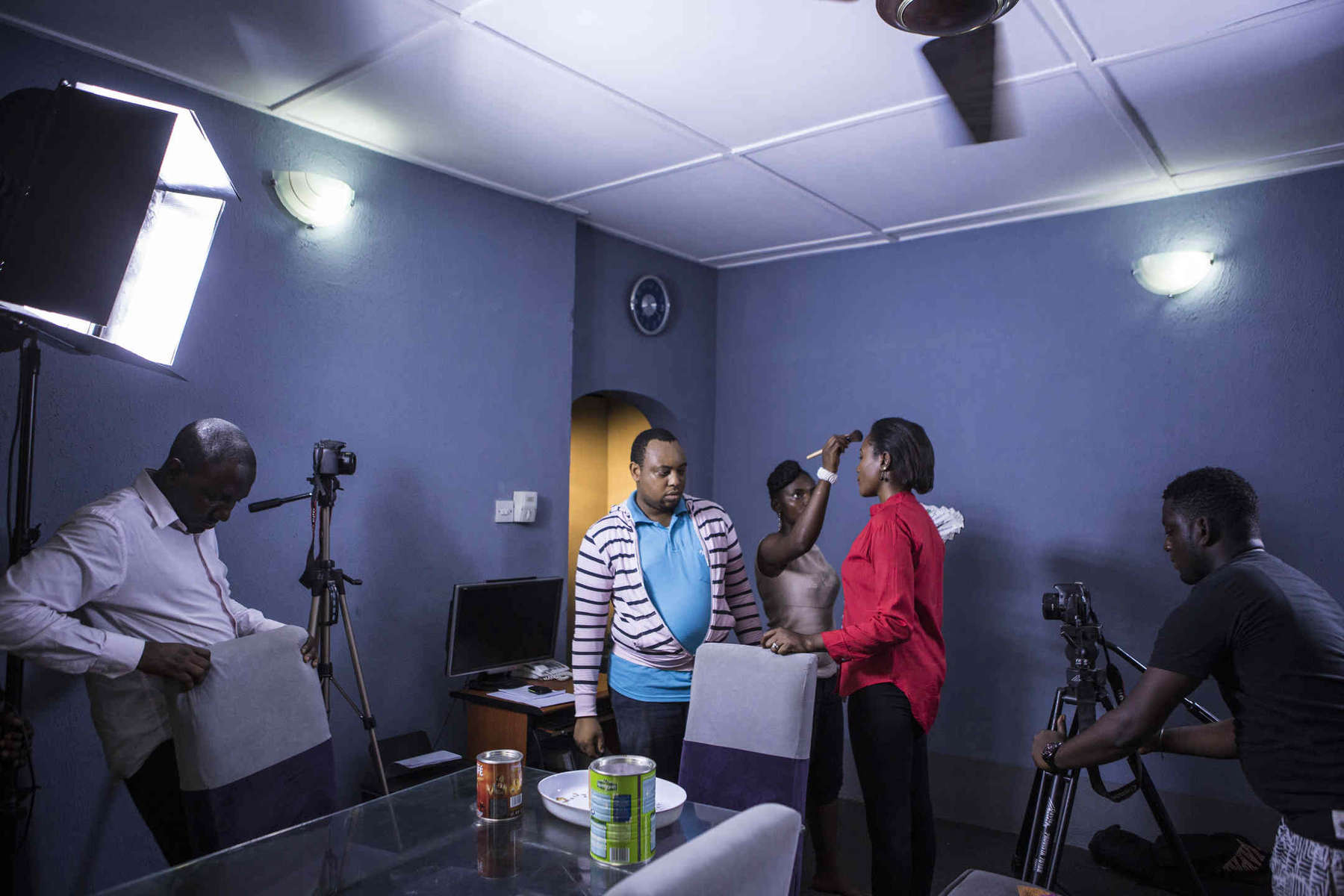 Though Nollywood is a giant industry, most movies are low budget and filmed in producer's homes or on cheap sets. Filming one scene for {quote}Rumor Has It{quote} took all day, with problems of electricity and other disturbances.