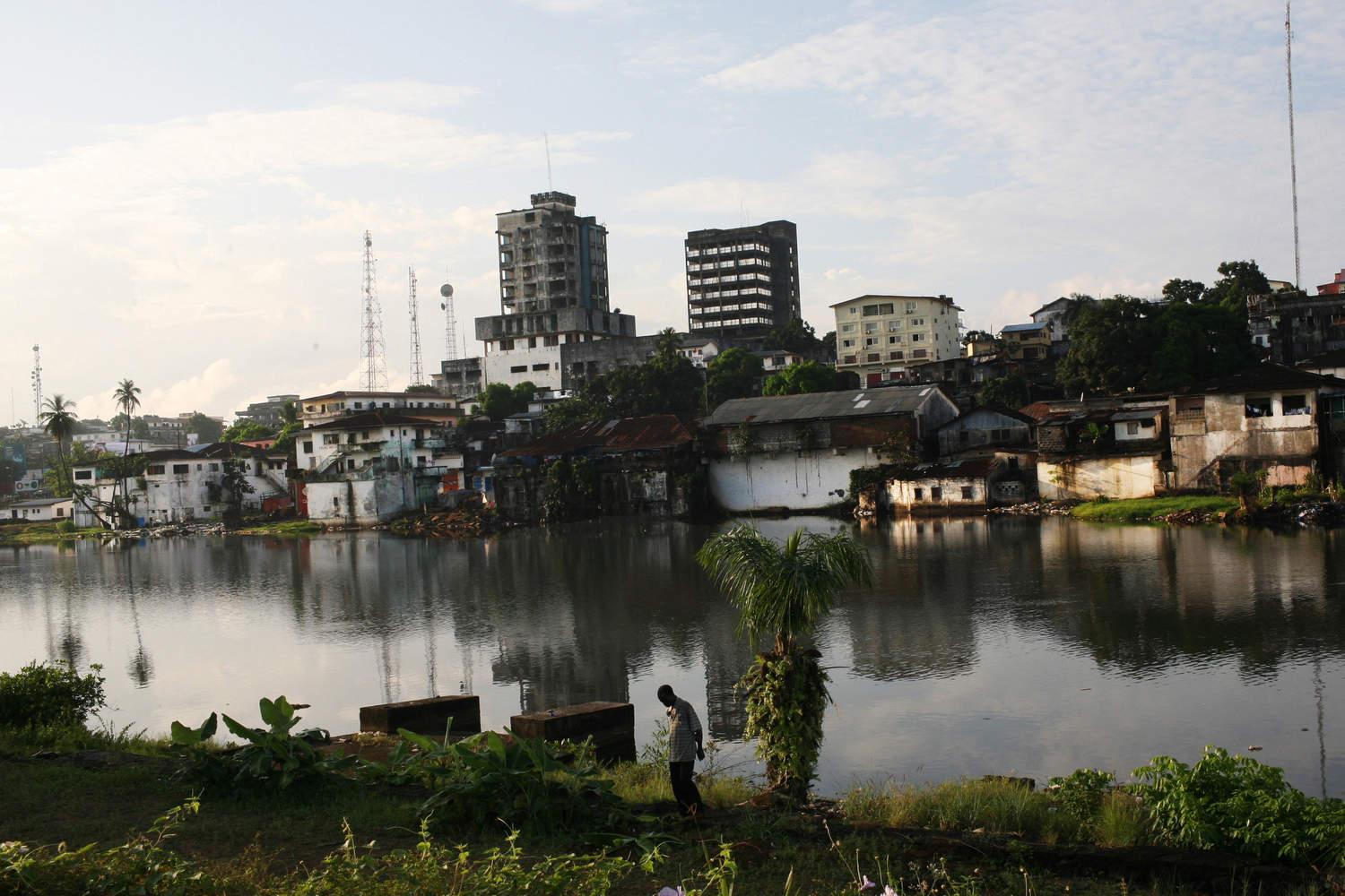 Downtown Monrovia as seen from Provident Island, the thin strip of land jutting into the Atlantic Ocean where the freed slaves first landed in Liberia in the 1820s.