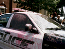 A police car covered in pink paint during the protests in Charlottesville, Virginia, the first woke the nation to the current wave of pro white activism.