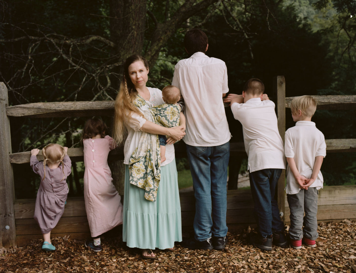 {quote}A Wife With a Purpose,{quote} the online super star Ayla Stewart, poses for a portrait at a public park in the southeastern United States on August 23, 2017 along with her six children. She's known for promoting #tradlife (traditionalist homemaking and white culture). She's been kicked off twitter for hate speech, though has started accounts on Gab and other platforms, and continues to have a huge youtube following. Though she believes there are many definitions of the word Nazi, she says there is only one definition of the word racist and she claims she is not racist.