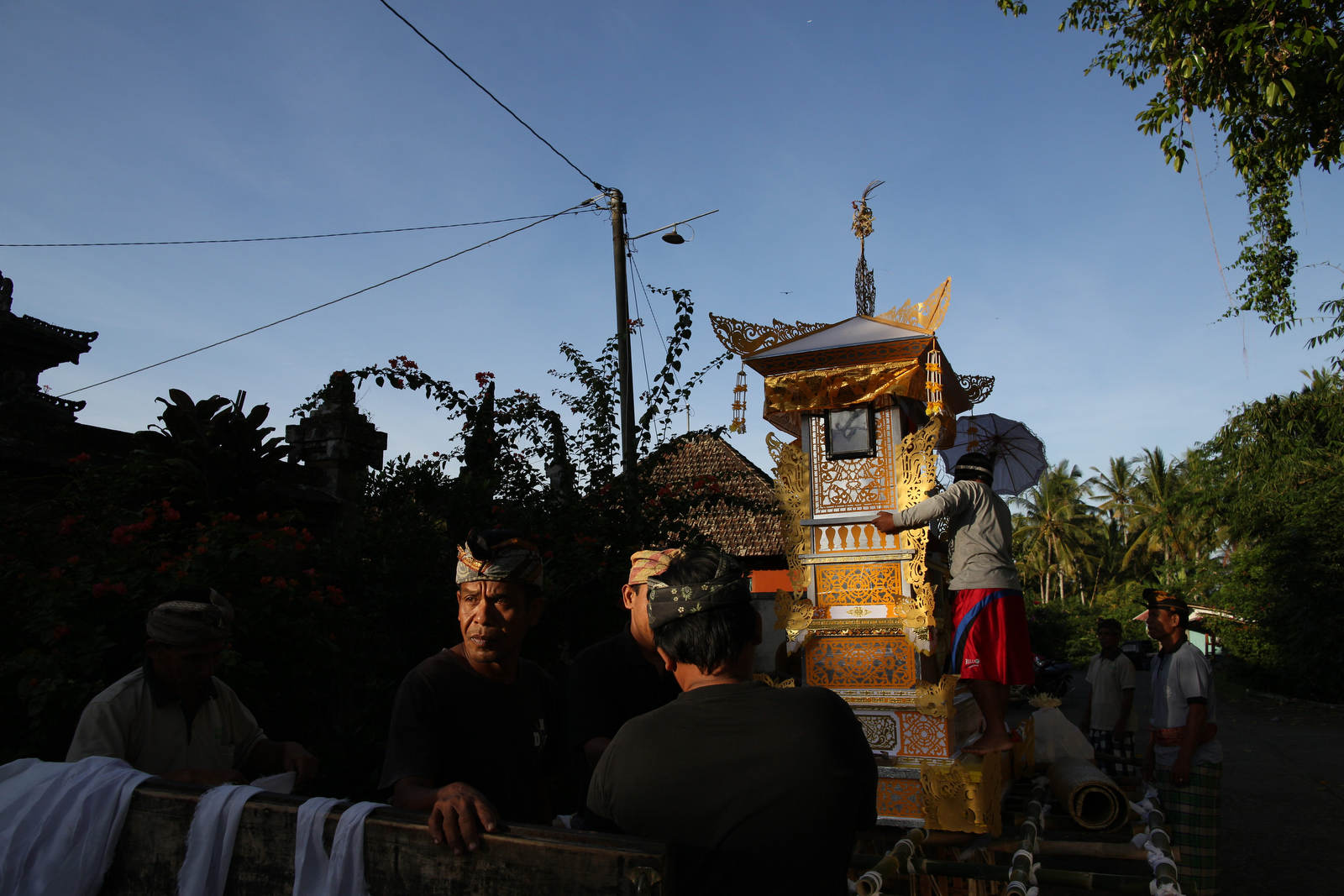 A float is prepared for the funeral of a high priestess in Bali, Indonesia.
