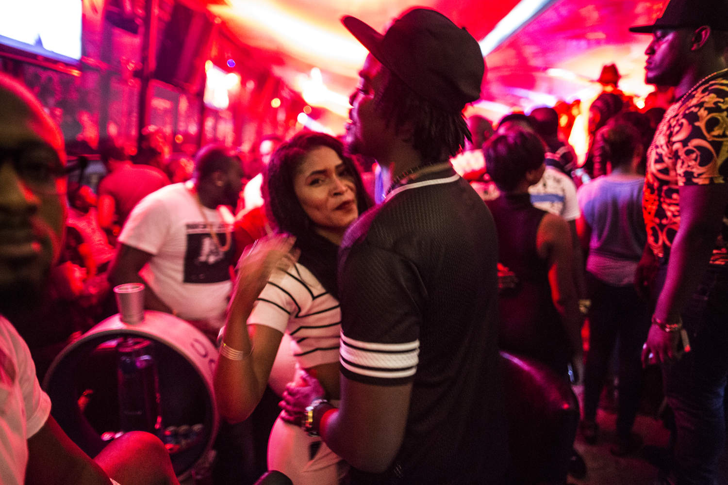A couple dances at Cova, a popular Sunday night spot in Victoria Island, the poshest part of Lagos.