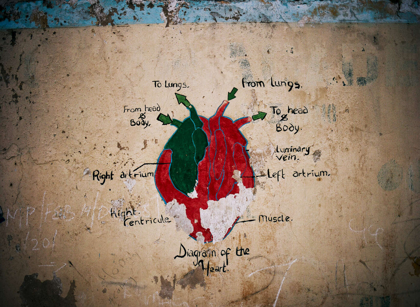 The diagram of a heart drawn on the outside of a school in Kano, Northern Nigeria.