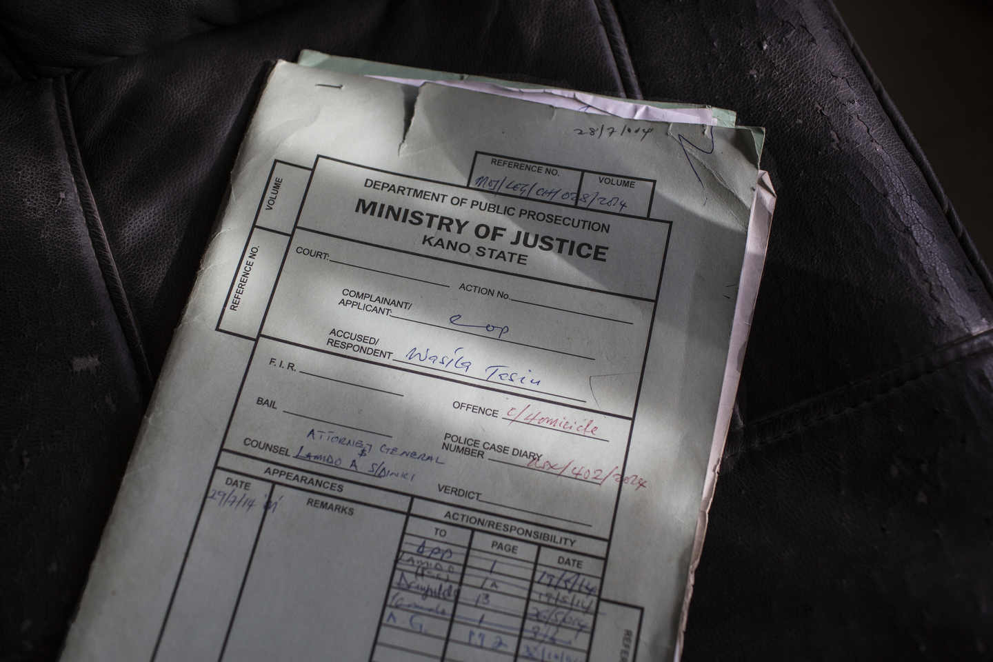 Wasila\'s file at the Ministry of Justice in Kano.
