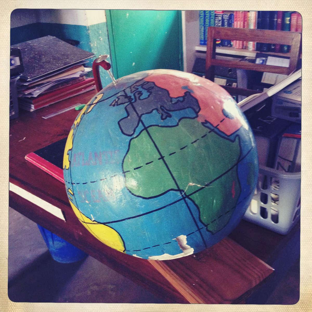 Handmade globe in a classroom in Malawi. May 2013.