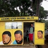 Looking Good Barbing Salon in Monrovia, Liberia. May 2013.