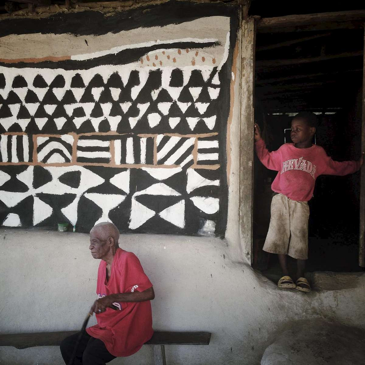 Village house, decorate. Todee, Liberia. January 2014.