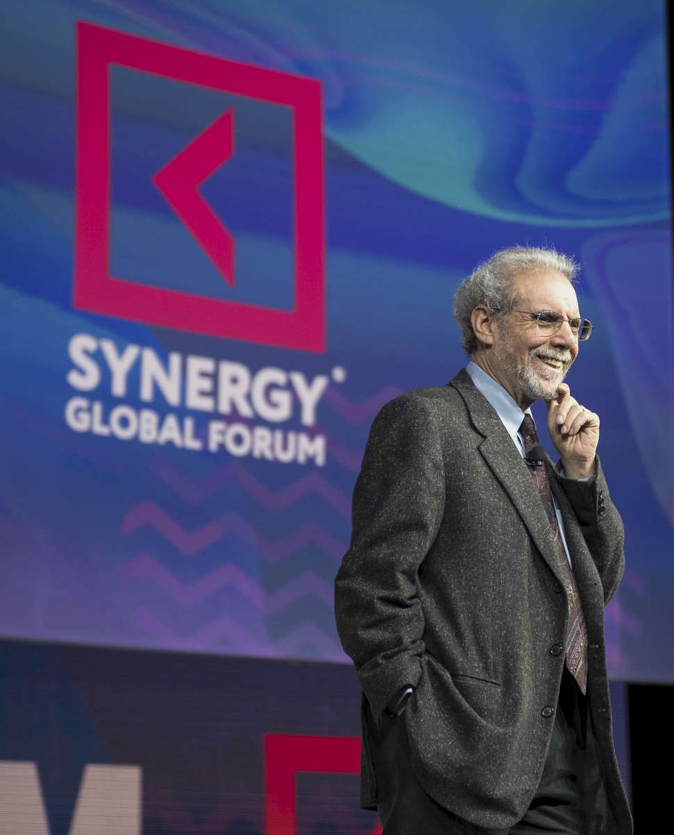 Daniel Goleman is speaking at the Synergy Global Forum NY at The Theater at Madison Square Garden October 28, 2017. Photo by Ron Wyatt Photography
