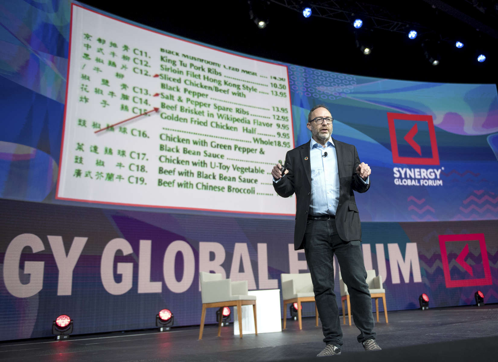 Jimmy Wales is speaking at the Synergy Global Forum NY at The Theater at Madison Square Garden October 28, 2017. Photo by Ron Wyatt Photography
