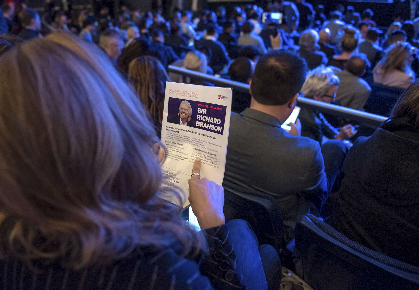 Richard Branson is speaking at the Synergy Global Forum NY at The Theater at Madison Square Garden October 28, 2017. Photo by Ron Wyatt Photography