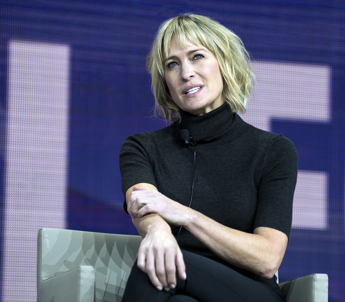 Robin Wright  is speaking at the Synergy Global Forum NY at The Theater at Madison Square Garden October 28, 2017. Photo by Ron Wyatt Photography