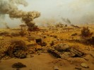 A panorama of the 1973 Arab - Israeli War at an Egyptian military musuem in the Cairo suburb of Heliopolis. On 6th October 1973 Egyptian forces attacked across the Suez Canal, and fierce fighting took place in the desert. (Simon Akam)