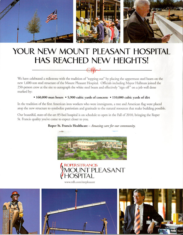 Magazine advertisement for Roper St. Franics Healthcare.  Photo by Mic Smith Photography LLC