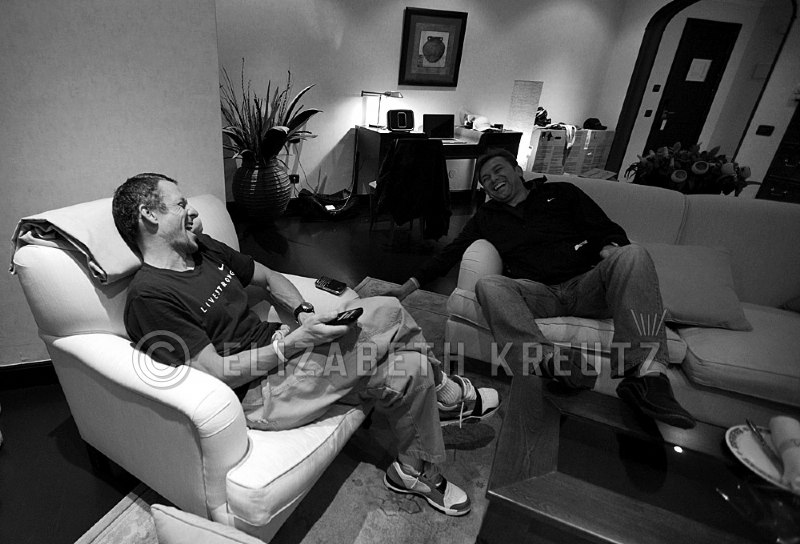 "Lance and Johan having a ""serious"" meeting."