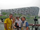 Getting ready to shoot the fireworks during opening ceremonies of the Beijing games with Erich Schlegel, Smiley Pool and another photographer.  It would have been good to know that the finial fireworks were going to be over our heads and not the Bird's Nest...We were covered in ashes and my hair almost caught fire.