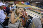 Graham and I have this thing about eating pizza together all over the world...Here we are at the Velodrome in Beijing.