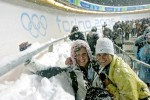 Trying to keep warm and lenses dry at the bobsled venue at the Olympics in Torino with my new buiddy Cat.