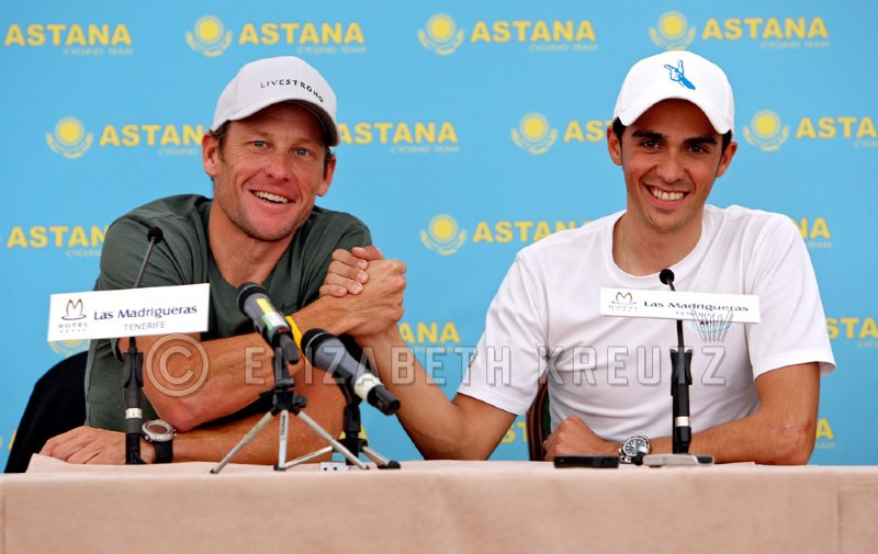 Lance and Alberto take questions at the press conference and declare that Astana will be tough to beat.