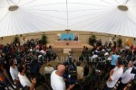 Hundreds of media came from near and far for the press conference.   There was not enough room at the hotel, so the press conference was held at the golf course next door.