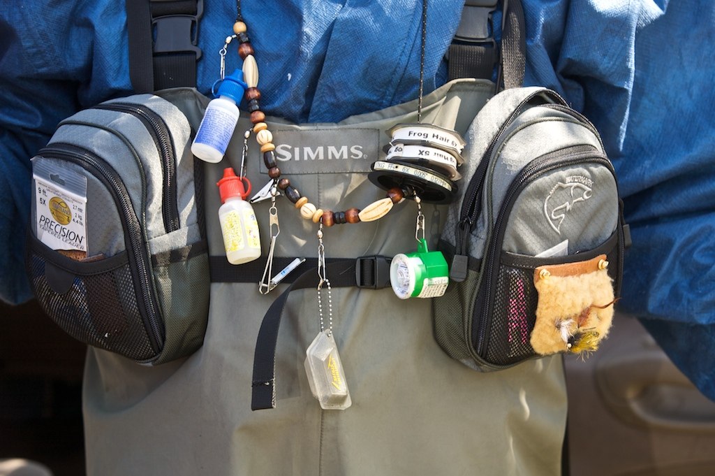 Bob Thomas shows off his fishing tackle along the Tuckasegee River in Sylva, NC.