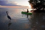 Christopher Collier paddles a kayak around Little Palm Island at sunset off the coast of Little Torch Key, FL.