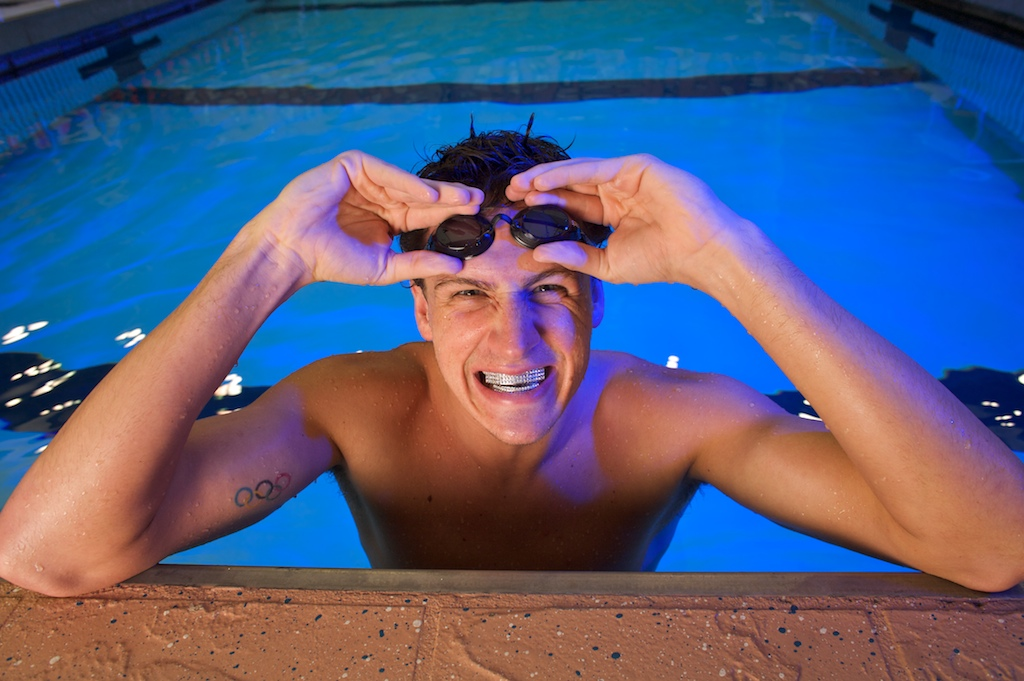 Olympic Swimmer Ryan Lochte poses for a portrait session following his workout at the Stephen C. O'Connell Center on the campus of the University of Florida.
